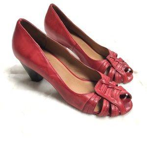 Miz Mooz Red Peep Toe Heel, 7.5